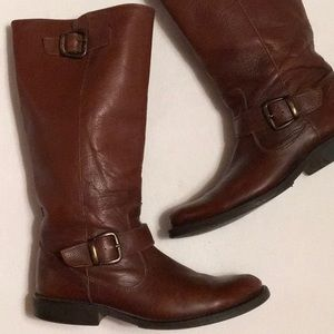 Steve Madden P-Frannk Brown Leather Boots sz 9